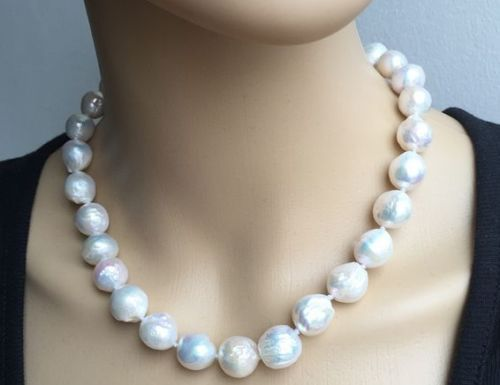 classic 12-13MM 18inch south sea natural baroque white pearl necklace