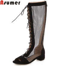 ASUMER 큰 size 34-43summer shoes women cross 묶여 니 (high) 저 (부츠 med 힐 숙 녀 shoes 공동화 out 검투사 샌들 women(China)
