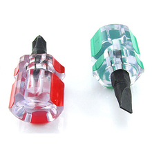 DHDL-2 pcs Flat Phillips Screwdriver Mini Screw Driver Short Small Split Repair Tools Kit Set Green+Red