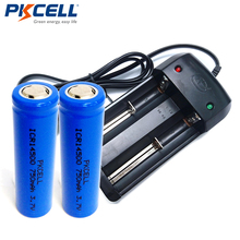 2Pcs*PKCELL 3.7V ICR 14500 750Mah Li-ion Rechargeable Battery Batteries +Smart Battery Charger For ICR 18650 18350 16340 14500