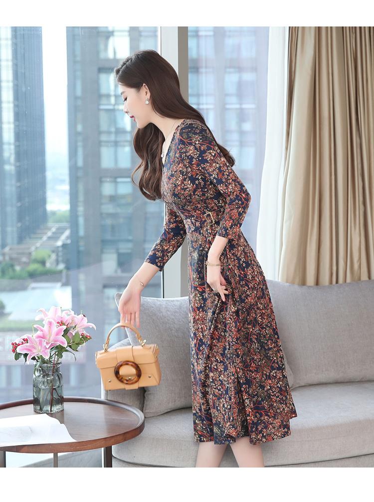 Autumn Winter New 3XL Plus Size Vintage Midi Dresses 2018 Women Elegant Bodycon Floral Dress Party Long Sleeve Runway Vestidos 42 Online shopping Bangladesh