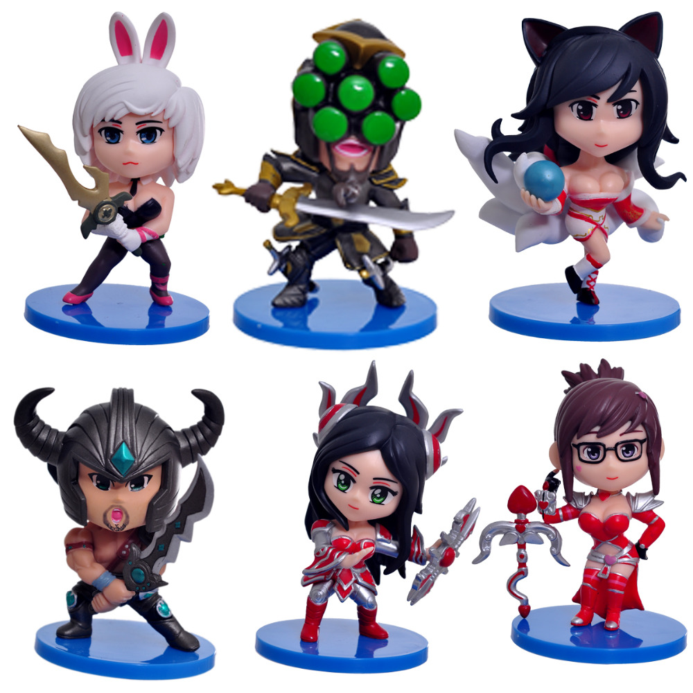 2016 NEW Hot Action Figure Toys 6pcs/set 8CM Ahri Irelia Master Yi Riven Tryndamere Cool Christmas gift doll<br>