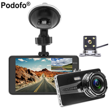 Buy Podofo 4.0 inch IPS Dual Lens Car DVR Cam Dashcam 1080P Full HD Video Registrator Recorder Backup Rearview Camera Dash Cam Dvrs for $38.99 in AliExpress store