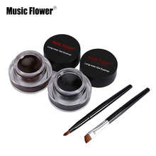 Music Flower 2 In1 Brown / Black Eyeliner Gel Cream Lasting Make Up Waterproof Smudge-proof Cosmetics Set Eye Liner + Brushes