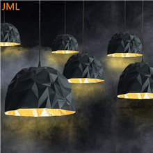 Italy New Design Rock Suspension Lamp Modern FRP Led Pendant Light Diamond Skygarden Resin Paint Gold Art Deco Lighting(China)