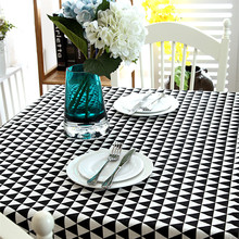 High Quality Linen black and white gray geometric table cloth lace table cloth home hotel table cloth