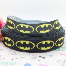 DUWES 7/8'' Free shipping batman brand logo printed grosgrain ribbon hairbow diy party decoration wholesale OEM 22mm H143(China)