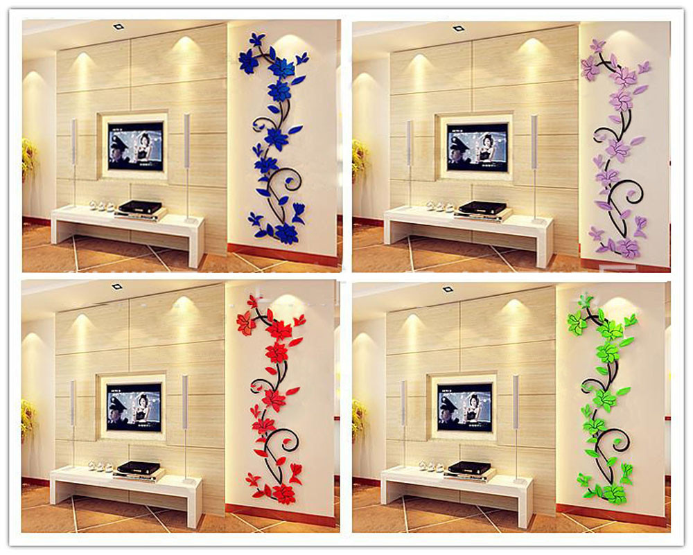 HTB1jL6Hb22H8KJjy1zkq6xr7pXaf - 3D Vase Flower Tree DIY Removable Wall Decal For Living Room