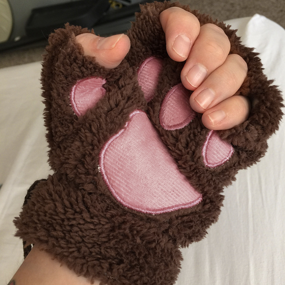 Soft Furry Bear's Paw Half Finger Fluffy Gloves