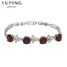 11.11 Xuping Luxury Bracelet Amazing Quality Silver Color Plated Synthetic CZ Red Bracelets For Women Top Sale Promotion 73217