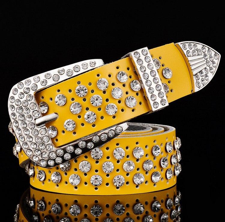 Fashion Rhinestone Genuine leather Belts for Women Luxury Wide Pin buckle belt woman High quality 3.3 cm