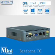 Two Network ports Industrial PC with J1900 Quad Core CPU , system support Fanless Computing with SIM 3G 24bit lvds barebone pc(China)