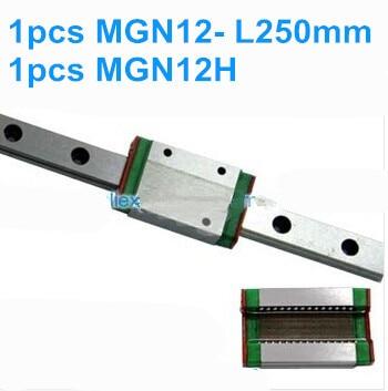 1pcs MGN12  L250mm linear rail  + 1pcs MGN12H <br>