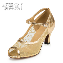 AIQIAOER Suede Sole Dancing Shoes For Women 6cm Womens Heel Shoes Gold Mesh Jazz Tango Dance Shoes Zapatos De Baile Latino Mujer