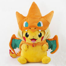 Anime Pokemon Pikachu With Charizard hat Soft Plush Toy Stuffed Animal Doll 9inkids toys birthday gift