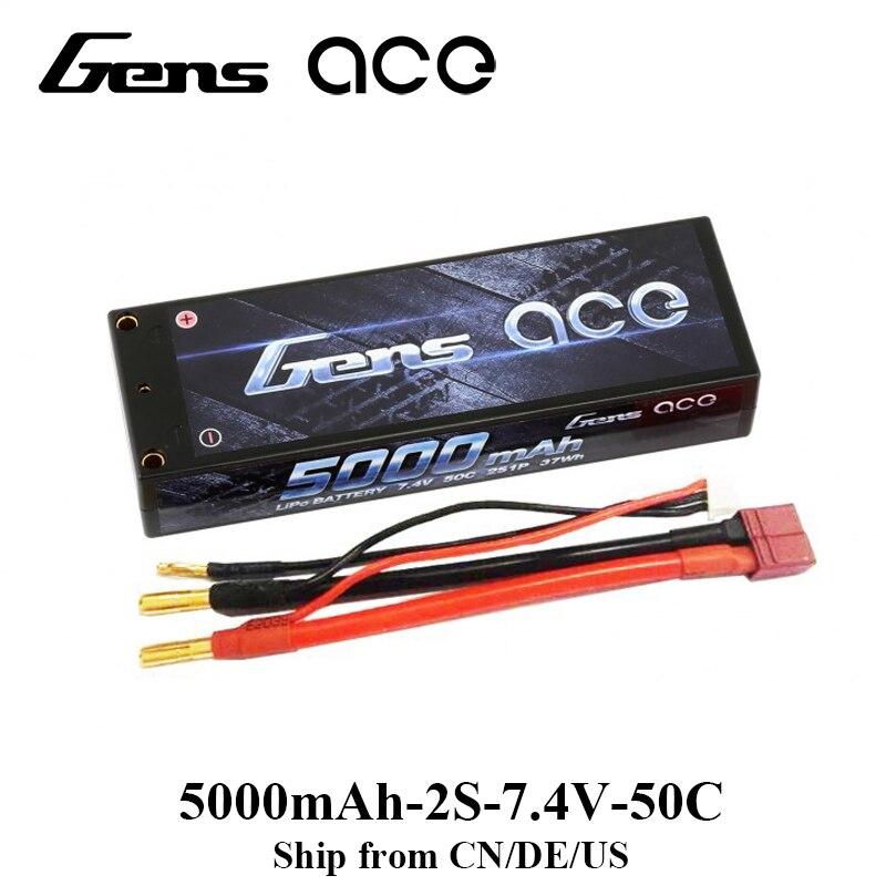 Gens ace Lipo Battery 2S 5000mAh Lipo 7.4V Battery Pack 50C RC Car Battery for 1/8 1/10 Car Hobby for Traxxas Slash 4x4 Bandit<br>