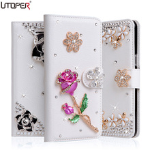 For Honor 5A Luxury Wallet Stand Flip PU Leather Case For Huawei Y6 II 2 / Honor 5A Diamond Handmade Bling Cover Phone Bags(China)