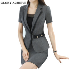 Summer career women skirt suit fashion business short sleeve slim blazer and skirt set ladies plus size work wear office uniform(China)