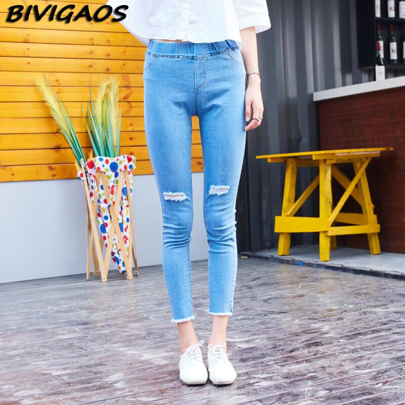 Womens 2 Holes Sexy Denim Ripped Skinny Fit Pencil Pants Cropped Stretch Jeans Slim Capris Trousers jeggings leggings women jeanОдежда и ак�е��уары<br><br><br>Aliexpress