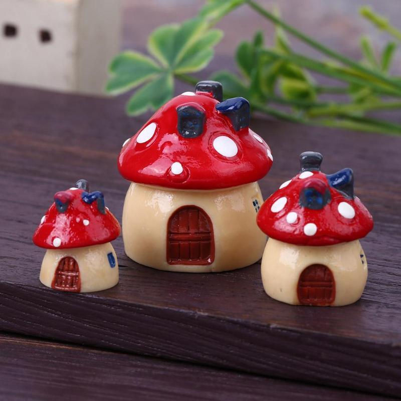 60pcs Miniature Resin Mushroom Dollhouse Craft Garden Bonsai Decor 3 Colors
