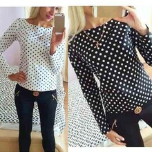 Top Sale 2 Colors 2016 Summer Women Casual Blouses Female Long Sleeve Round Neck Printing Dot Women's Blouse Women Clothing