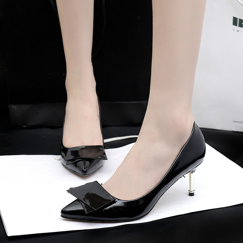 2017 New Ladies Butterfly Women Pumps Square Heel Pointed Toe High-heeled Women Shoes Fashion Party Wedding Shoes heels 6.5cm<br><br>Aliexpress