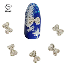 10 Pcs New Diamond Bow Glitter Nail Alloy Set 3D Nail Art Decoration DIY Tools Rhinestone Sticker For Manicure Decor(China)
