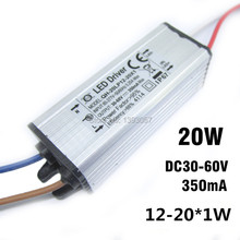 5pcs/lot 20W DC30-68V Watperproof LED Driver 12-20x1W 350mA IP67 Constant Current Aluminum LED Power Supply(China)
