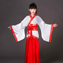 DJGRSTER 2018 New Girl Ancient Chinese Traditional National Costume Hanfu White Red Dress Princess Children Hanfu Dresses(China)