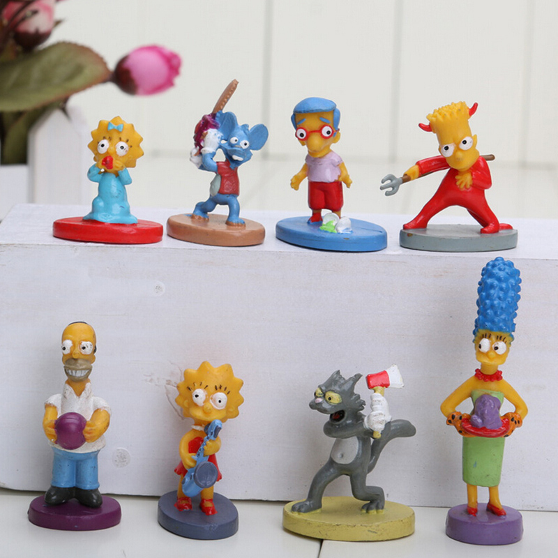 Popular Anime The Simpsons 8pcs/set Small 2-5cm Doll PVC Mini Action Figure Toys<br><br>Aliexpress