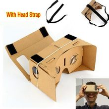 "DIY Google Cardboard Virtual Reality Glasses VR Mobile Phone 3D Viewing Glasses for 5.0"" Screen Or With Head Mount Strap Belt(China)"