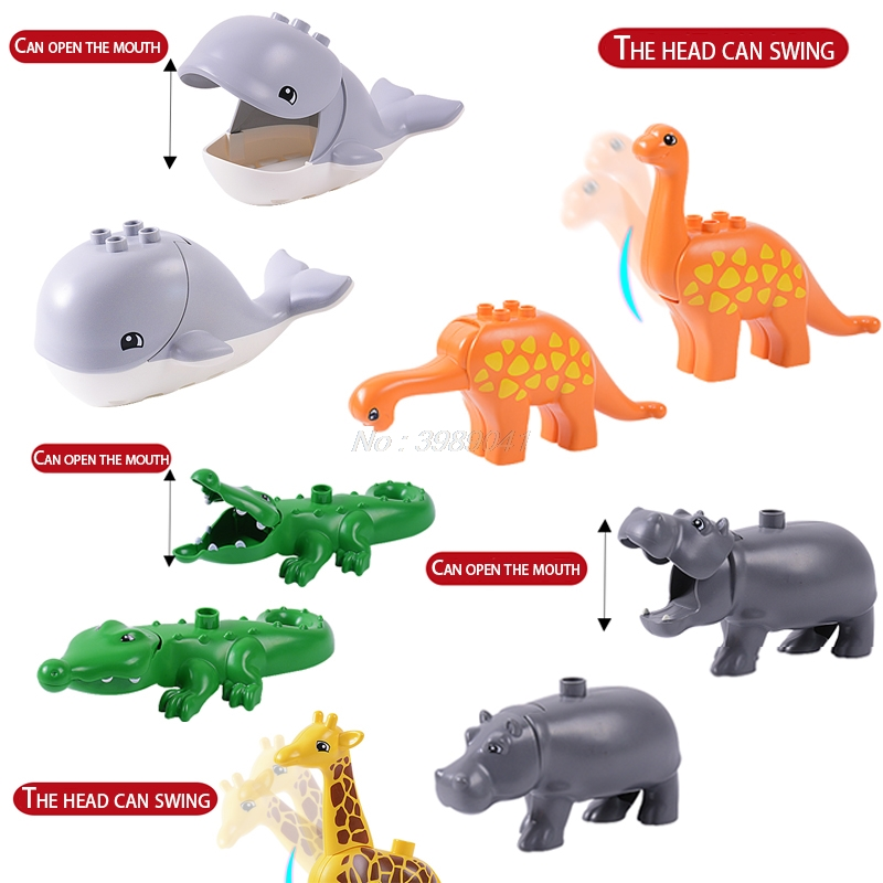 Mailackers Duplo Animals Dinosaur Tyrannosaurus Rex Whale Giraffe Mother And Child Toys For Children Block Christmas Gift Duploe