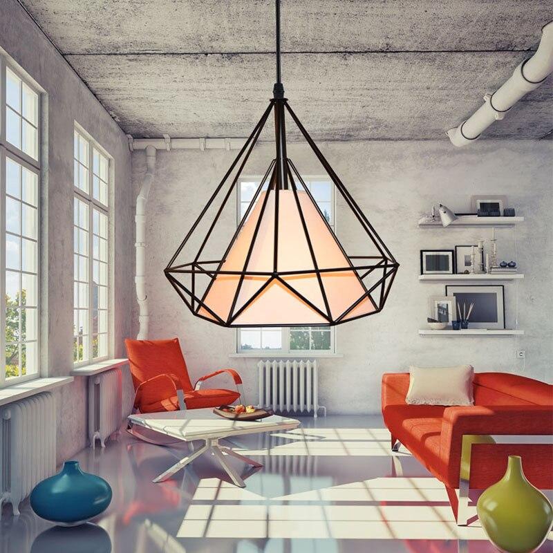 Retro Iron Ceiling Lamp Artistic Diamond Shape Creativity Single-head Drop light for Foyer Restaurant Living Room Industry Light<br>