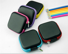 Square Earphone Bag Earphone accessories Bag for Earphone Headphone SD TF Cards gift Storage Case snh8(China)