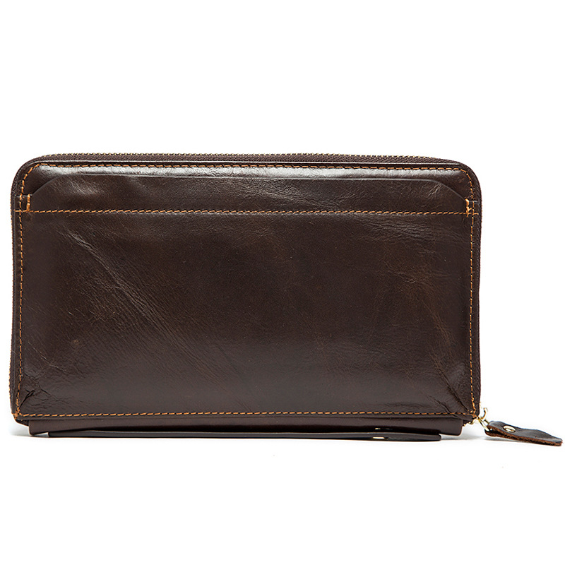 100% Genuine Leather Men Wallets Multifunction Purse with Cell Phone Coin Pocket Business Mini Clutch Bag Vintage Brown Card Bag<br>