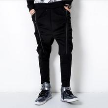 Europe and the United States spring and summer large size Slim personality multi-pocket zipper black small feet men pants/M-5XL
