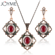 Vintage Turkish Bridal Jewelry Sets For Women Pendant Imitation African Tibetan Crystal Necklace Earrings Set jewellery New