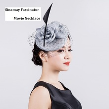 Brand Quality Vintage Sagittate Feather Fascinators Veil Sinamay with Headband Grey Ivory Women Tea Party Hat Fascinator Clip