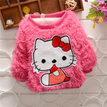 BibiCola Baby Girl fashion sweater T Shirt Kids long Sleeve thick shirt Children Candy color warm winter sweater for baby girls(China)