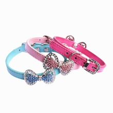 Dog Basic Collars Bow Tie With Diamond Cat Adjustable Quick Release Plastic Leads Pet Suppliers 2015 New High Quality