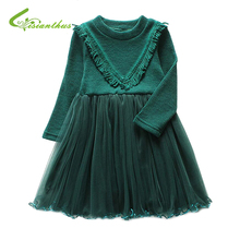 Girls Dress 2017 New Autumn Baby Girls Lace Knee-Length Dresses Casual Knitted Sweater Tops Kids Ball Gown Children Clothing(China)