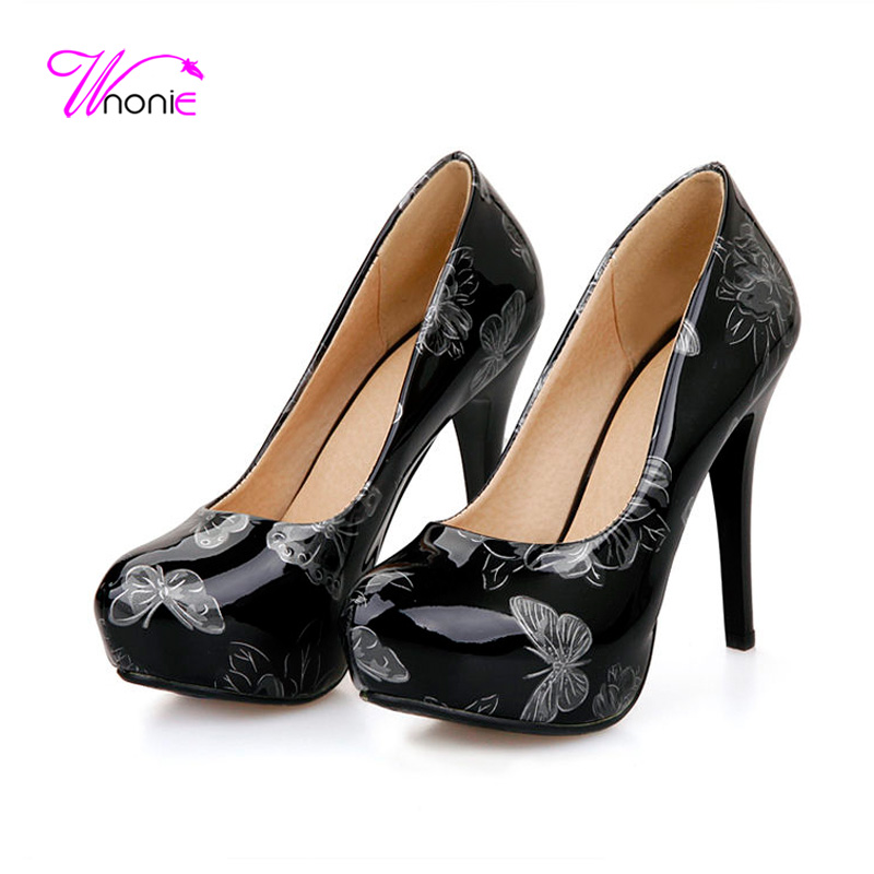 2017 Women Pumps High Heels Stiletto Platform Round Toe Printed Butterfly Patent Leather Sexy Dress Party Wedding Ladies Shoes<br>