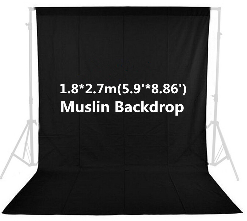 Photo Studio Vedio Photography 5.9ft x 8.86ft/1.8m x 2.7m Black Photo Studio Solid 100% Cotton Muslin Backdrop Background PSB1C<br>