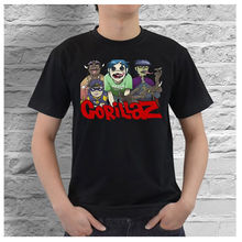 Military T Shirts Crew Neck Men Short Graphic Gorillaz English Musical Visual Virtual Band Of Cartoon Characters Tees(China)