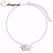 CHENGXUN Teen Girls Kids Bracelet 925 Silver Lovely Cute Pig Face Bangle Fashion Cable Chain Animal Female Charm Jewelry(China)
