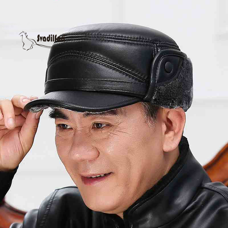 Leather hat man elderly outdoor winter warm winter hat old sheepskin earmuffs male thick cap<br>