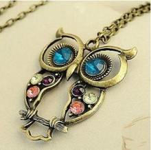 2017 Hot Crystal Owl Pendant Necklace Retro Long Chain Necklace Women's Gift Animal Jewelry Necklace Wholesale(China)