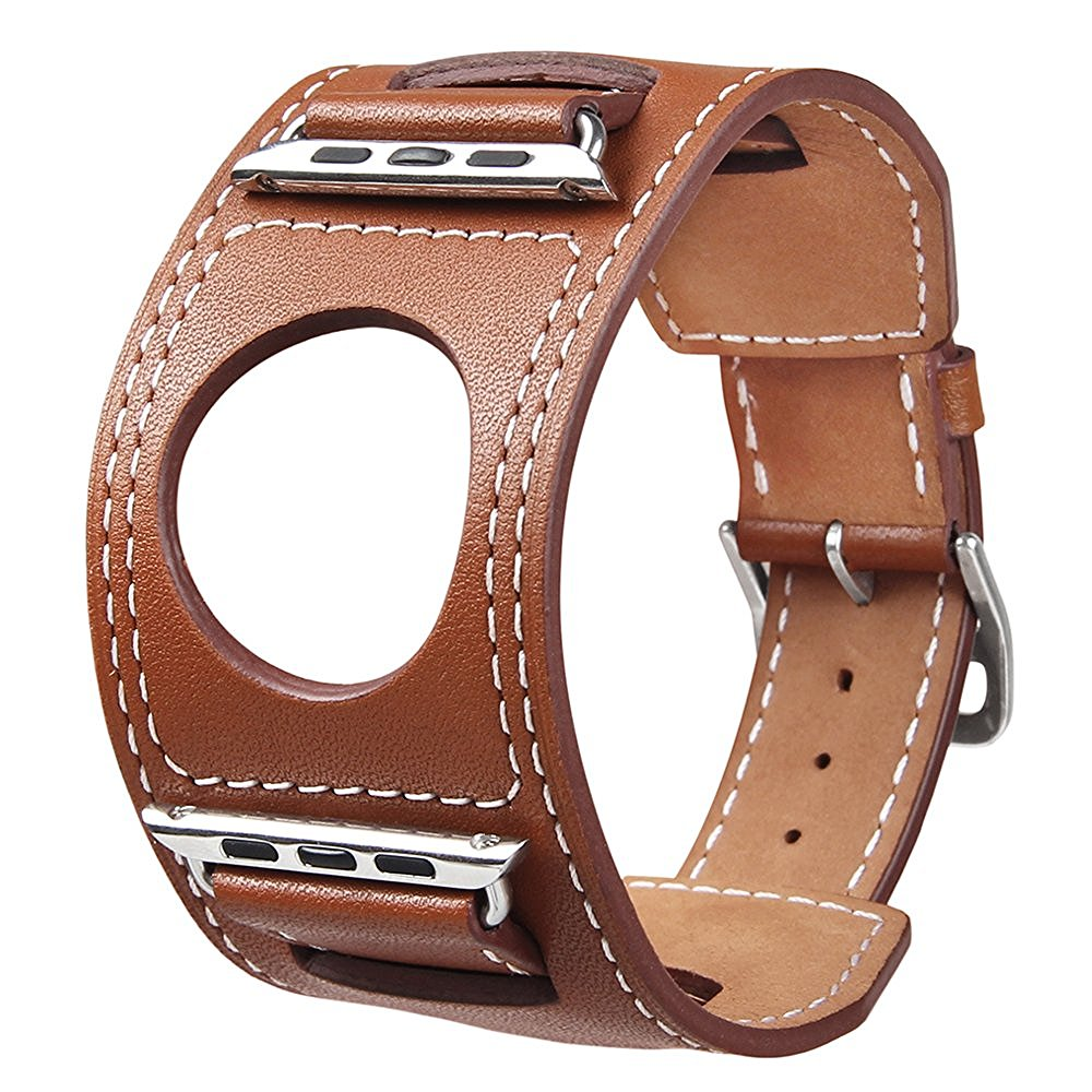 V-MORO Genuine Leather watchbands Cuff Bracelet Leather Wrist Band strap For Apple Watch 38mm 42mm<br><br>Aliexpress