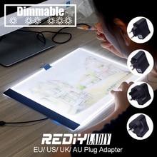 Затемнения Ультра тонкий A4 светодиодный Pad свет Планшеты USB кабель ЕС/Великобритания/AU/США переходник со стразами вышивка с кристаллами(China)