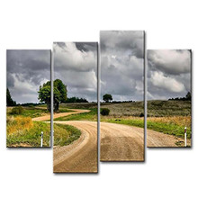 4 Panel Wall Art Painting Dirt Country Road To Village In Dark Cloudy Sky Prints On Canvas  Landscape Pictures Oil painting